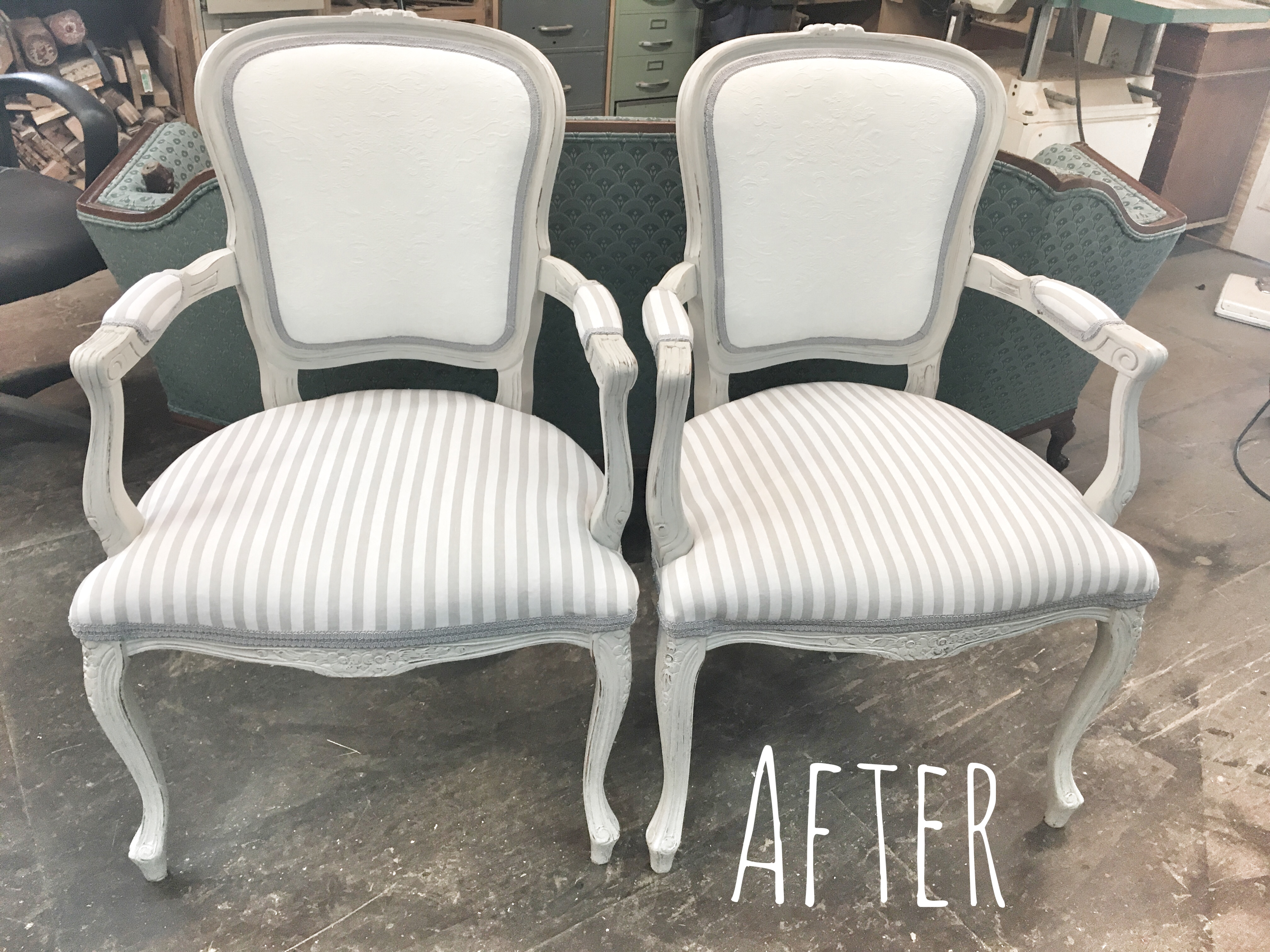 shabby chic, farmhouse chairs, update after