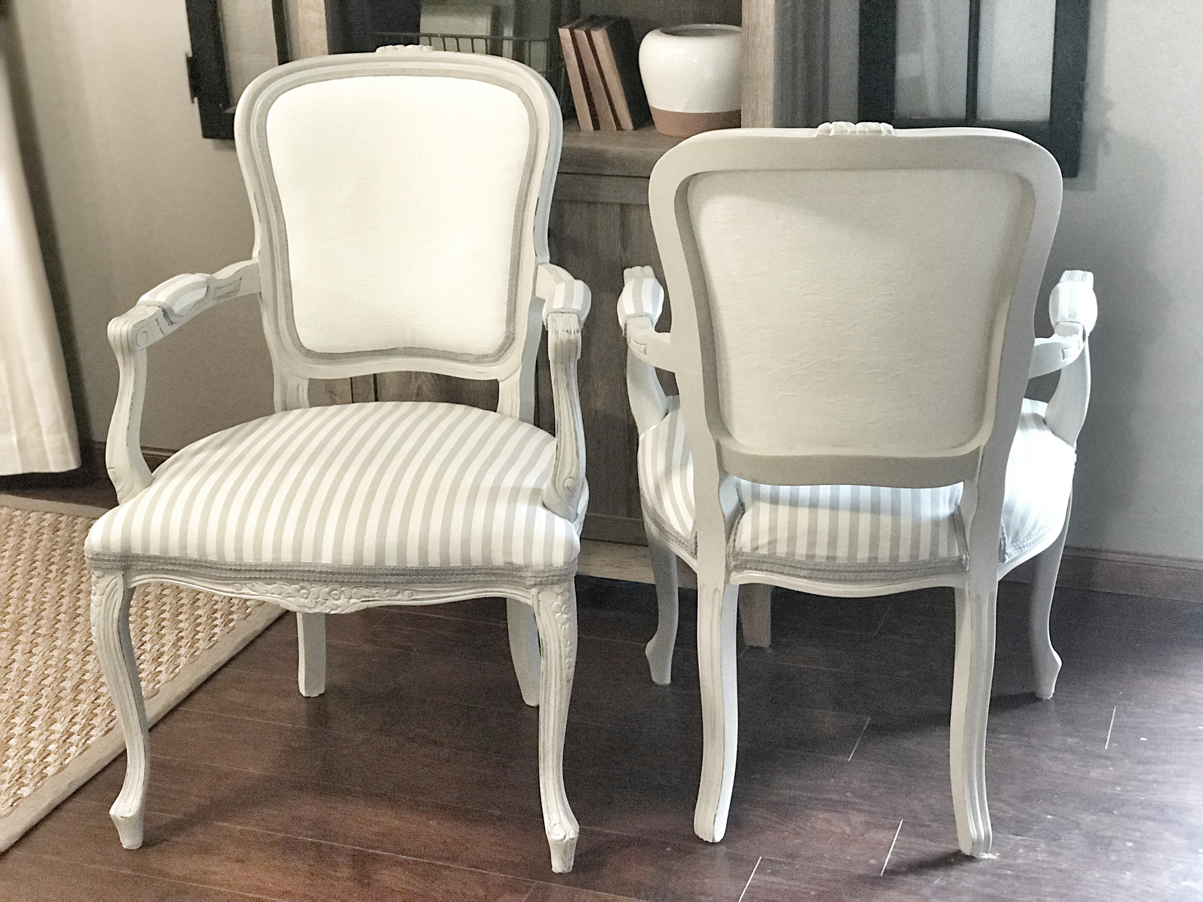 painted fabric, reupholstered chairs