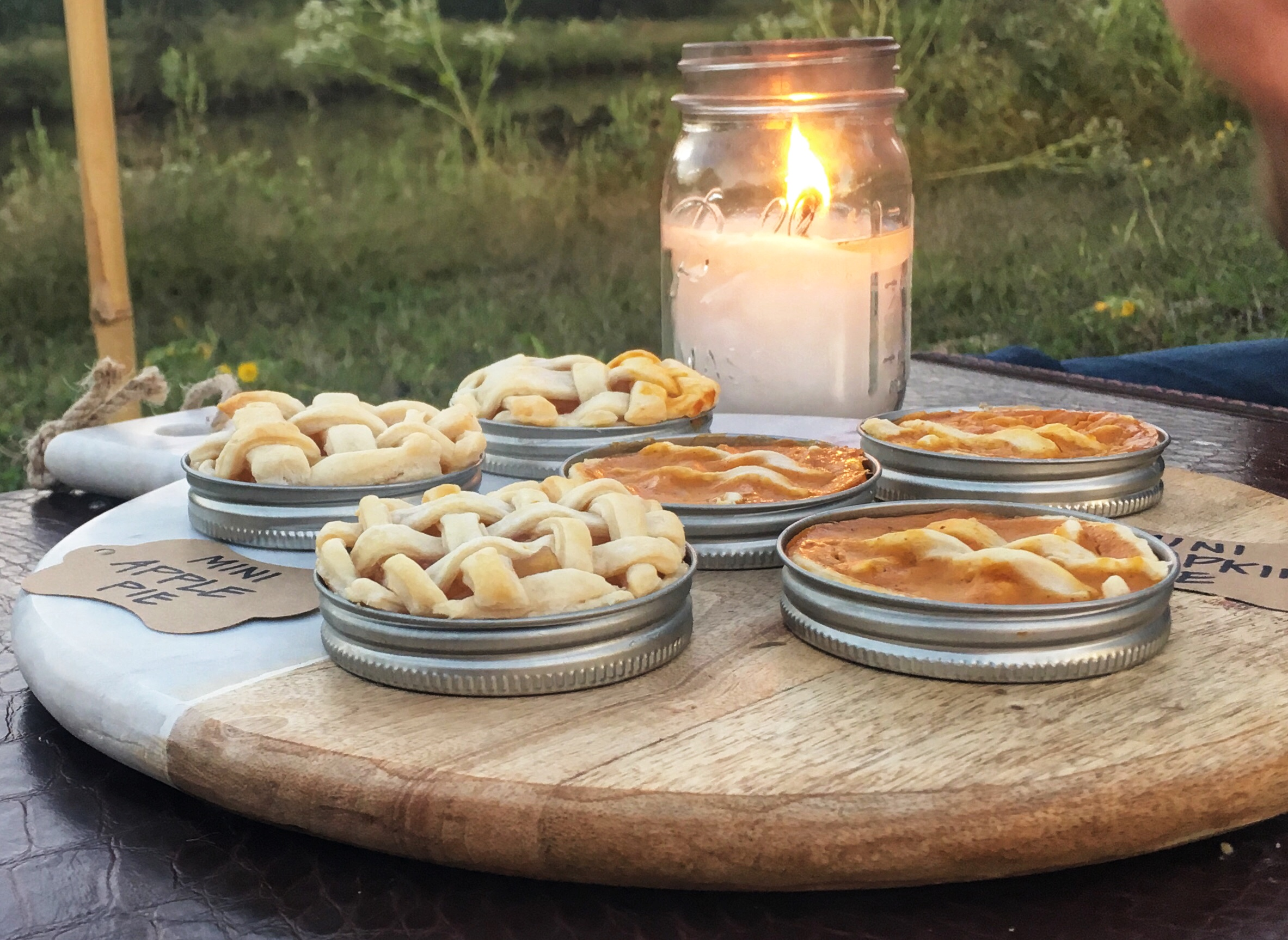 mason jar lid pies, mini pies, candle