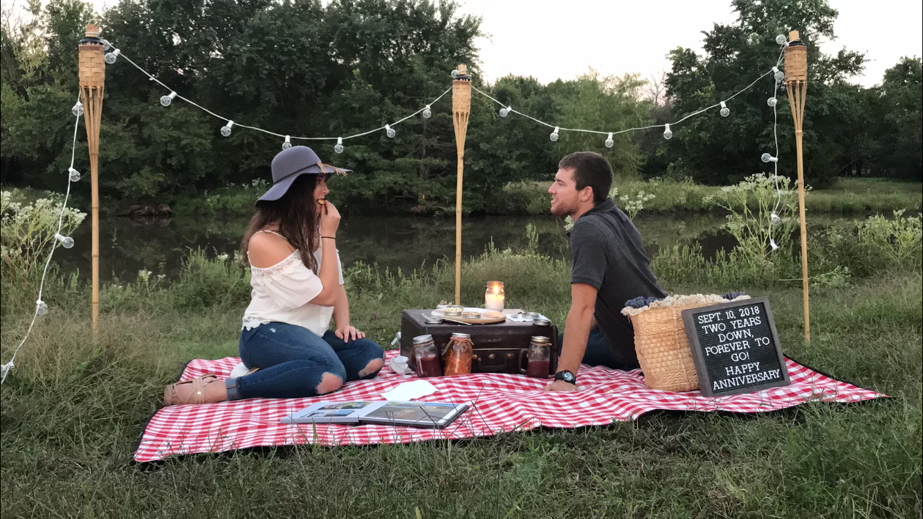 string lights, romantic setting, picnic, anniversary