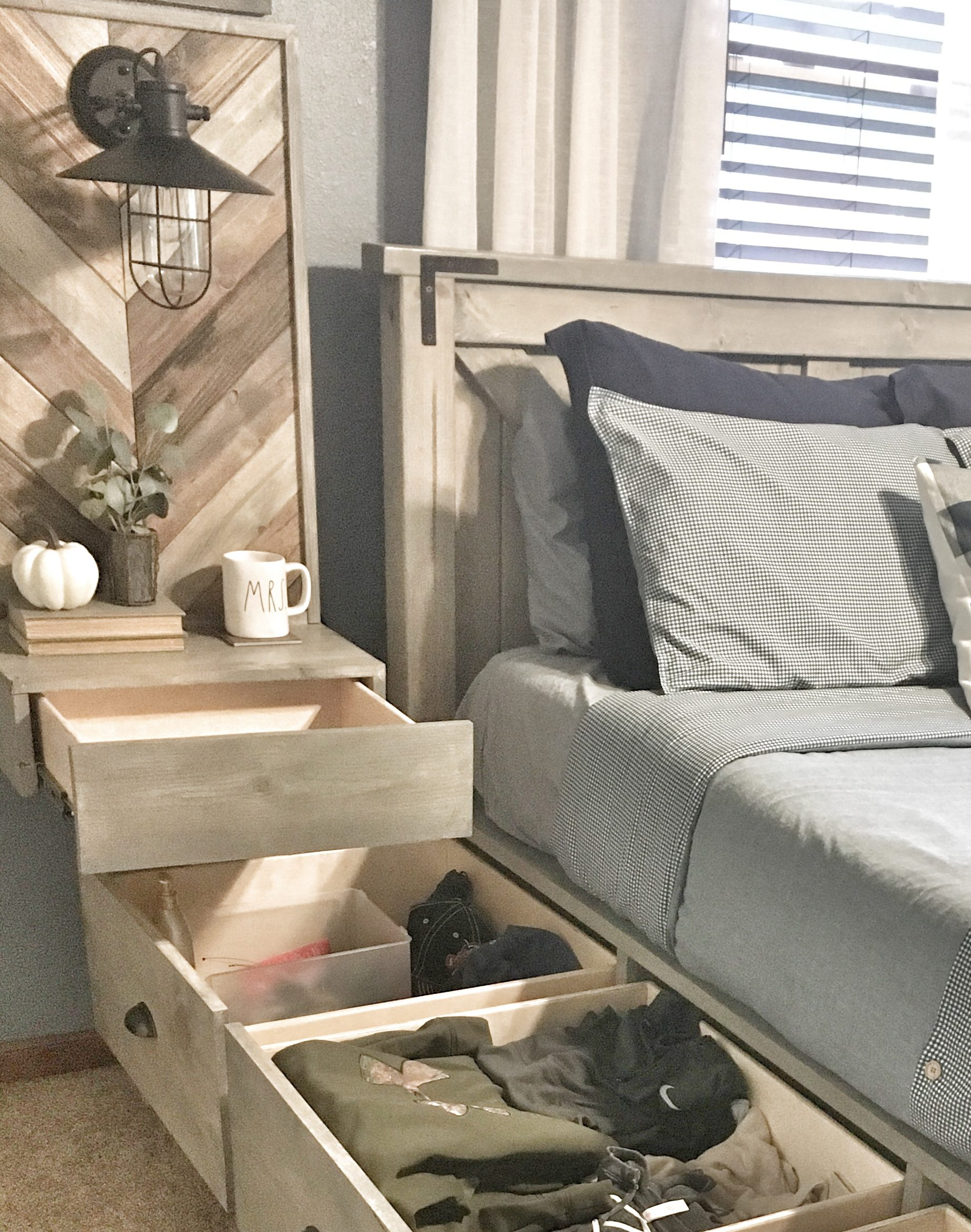 storage, drawers, floating nightstand, small space