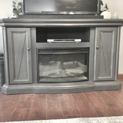 chalk pint, refurbish, gray furniture, entertainment center, fireplace