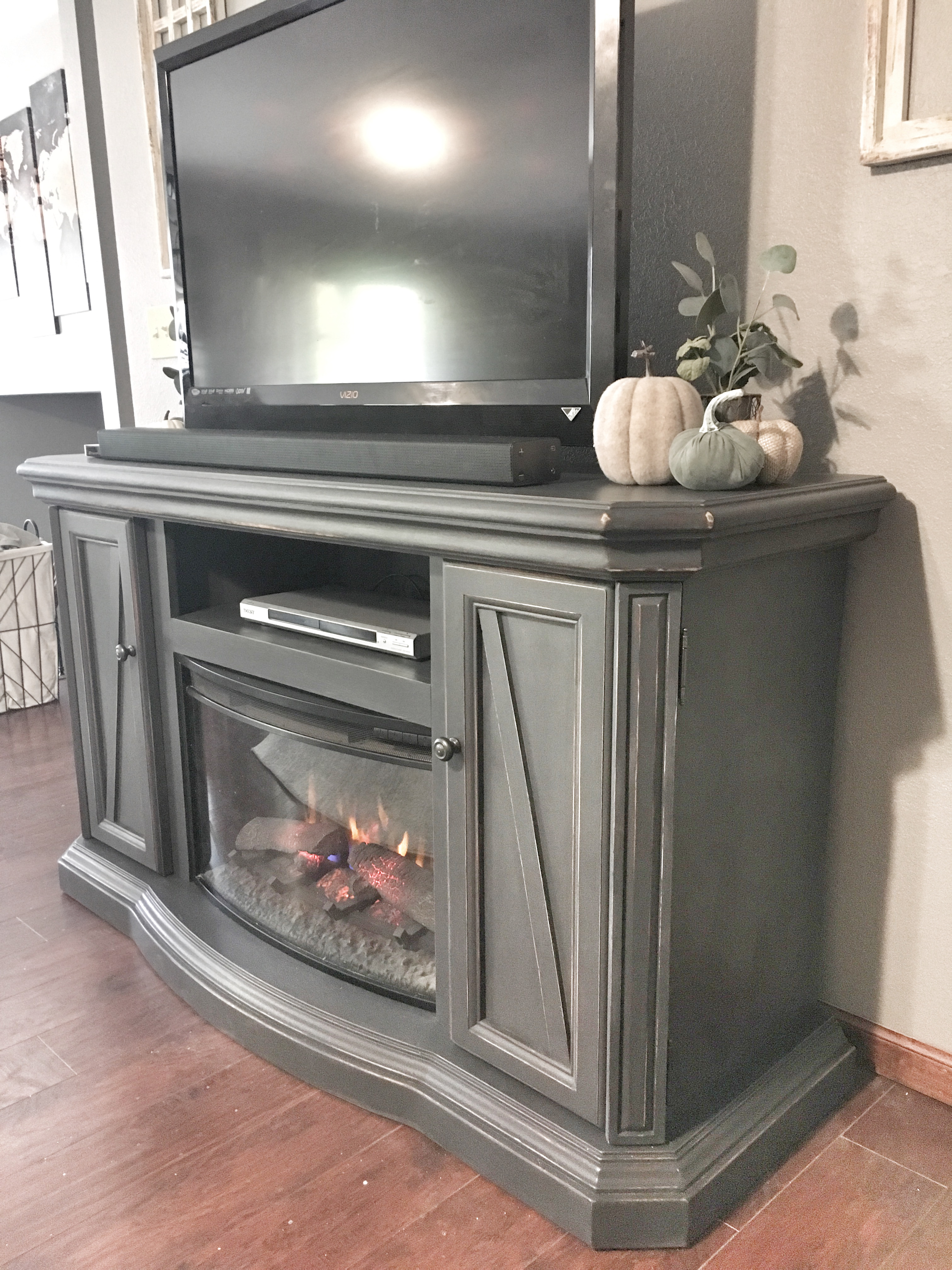 refurbished entertainment center fireplace