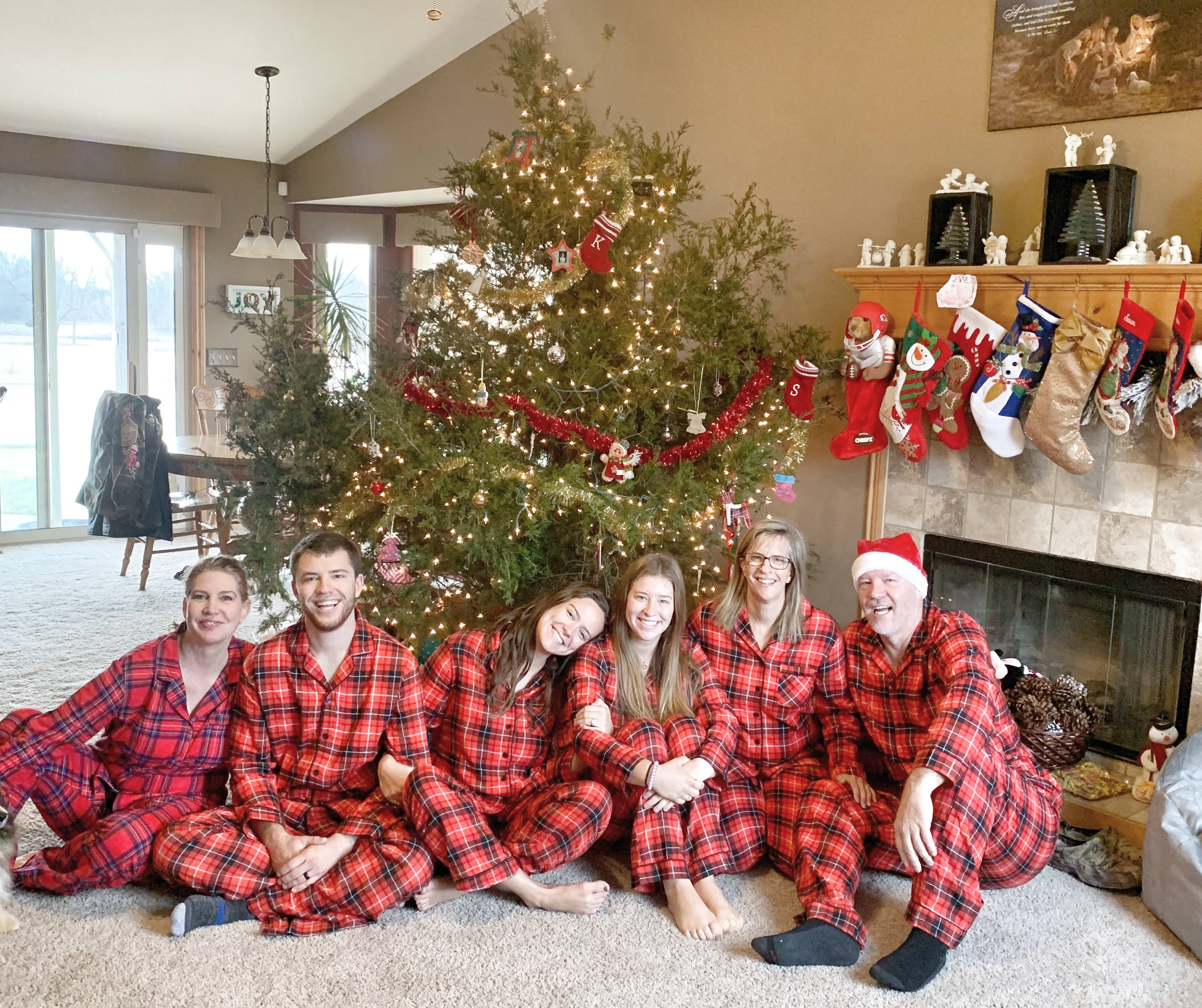 family gathering, matching pjs, red plaid