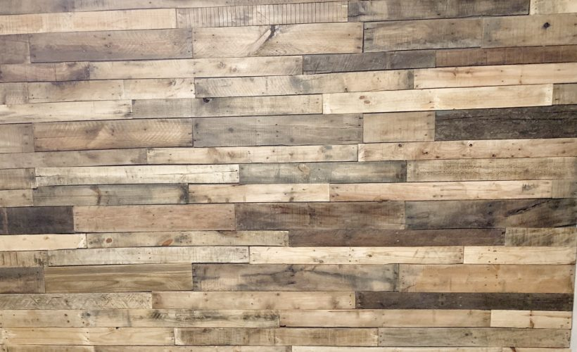 wood plank accent wall, pallet wood, rustic wall treatment
